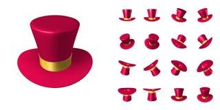 Chapeau rouge de magicien avec le ruban d'or illustration stock
