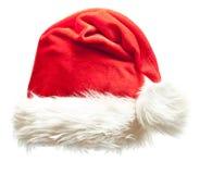 Chapeau rouge de Noël de Santa Claus d'isolement Image libre de droits