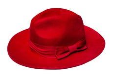 Chapeau rouge de velours d'isolement Photographie stock libre de droits