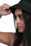 Chapeau s'usant de femme Images stock