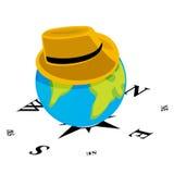 Chapeau sur le globe du monde Images stock