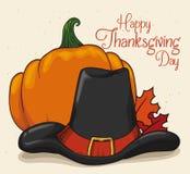 Chapeau traditionnel de pèlerin avec le potiron et l'Autumn Leaves, vecteur I Images stock
