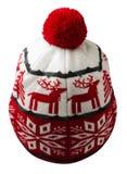 Chapeau tricoté d'isolement sur le fond blanc Photographie stock