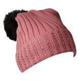 Chapeau tricoté d'isolement sur le fond blanc Photo libre de droits