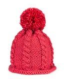 Chapeau tricoté d'isolement sur le fond blanc Photo stock
