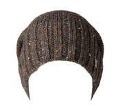 Chapeau tricoté d'isolement sur le fond blanc chapeau coloré Image libre de droits
