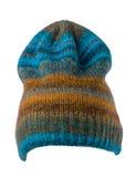 Chapeau tricoté d'isolement sur le fond blanc Chapeau coloré Photo stock