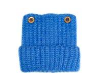 Chapeau tricoté de laine bleu Image stock