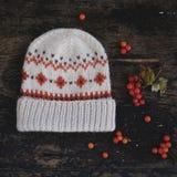 Chapeau tricoté par beige Photo libre de droits