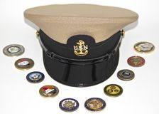 Chapeau uniforme d'un chef de la marine américaine Photos libres de droits