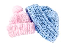 Chapeaux à crochet de chéri pour le garçon et la fille Photos stock