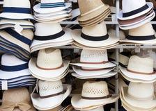 Chapeaux de paille sur la voile Photos libres de droits