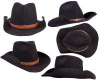 Chapeaux noirs de cowboy d'isolement sur le fond blanc photo stock