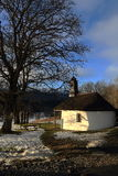 Chapel in Železná Ruda, Cloudes and trees, winter landscape in Šumava in Železná Ruda, czech republic Royalty Free Stock Photos