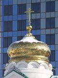 The chapel. The dome and cross of the chapel 'Zhivonosny istochnik' in Saratov Stock Photography