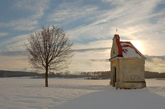 Chapel. In czech's winter on the snowy field Royalty Free Stock Photos