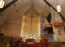Chapel. Church altar set for wedding with unity candle stock photography