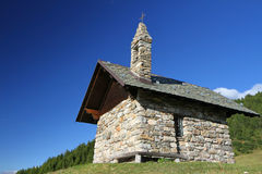 Chapel. A small chapel in the italian Alps. Passo del Mortirolo, Brixia province, Lombardy region, Italy Royalty Free Stock Photos
