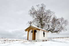 Chapel. In Plana village in winter Stock Images