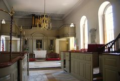 Chapel. The interior of a Catholic chapel located in historic Colonial Williamsburg, VA Royalty Free Stock Photo