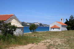 Chapel. Beside a sea, in a bay in Croatian island Pag stock photo