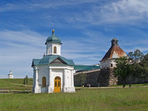Chapel of Alexander Nevsky and Uspensky tower of the Solovki mon Stock Photography