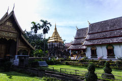 Chapel and Ancient temple with Beauty sky, Wat Chiang Man in Chiangmai Royalty Free Stock Photography