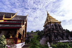 Chapel and Ancient temple with Beauty sky, Wat Chiang Man in Chiangmai Royalty Free Stock Images