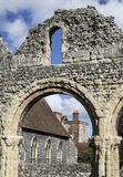Chapel through an Archway. Old archway which a chapel can be seen in Canterbury Kent England Stock Photo