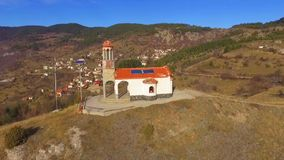 Chapel Ascension of Jesus in Bulgaria. Aerial view of a small chapel in the Rhodope mountains, Bulgaria. Amazing landscape view of the area stock footage