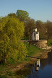 Chapel on the bank of the river Velikaya Royalty Free Stock Photo