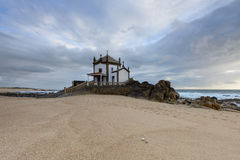 Chapel on the beach near Porto, Portugal Royalty Free Stock Images