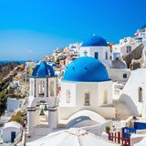 Chapel with the bell in Oia against blue sky in Santorini Royalty Free Stock Image