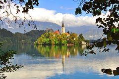 Chapel on the Bled lake Stock Photo