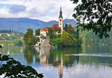 Chapel on Bled lake, Slovenia Royalty Free Stock Photography