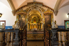 Chapel of the Bones in Evora with human bones. And skulls in the wall - Alentejo, Portugal royalty free stock photography