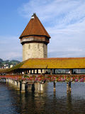 Chapel Bridge 02 Lucerne/Luzern, Switzerland. The Chapel Bridge is a 14th century wooden bridge, part of the town's fortifications. Together with the water-tower Royalty Free Stock Photography