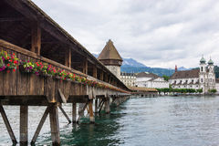 Chapel Bridge. Beautiful Chapel Bridge and tower in Lucerne, Switzerland Stock Images