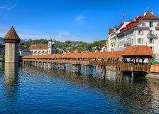 The Chapel Bridge in the city of Lucerne, Switzerland Royalty Free Stock Photos