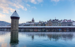 Chapel Bridge covered with snow in winter, Lucerne, Switzerland Stock Images