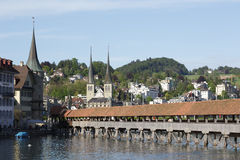 Chapel Bridge and historical buildings Royalty Free Stock Images