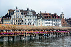Chapel Bridge Hotels Reuss River Lucerne Royalty Free Stock Photo