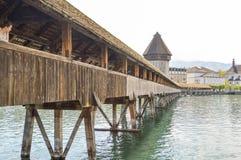 Chapel Bridge Kapellbrücke oldest wooden bridge, Lucerne, Switzerland. Chapel Bridge or Kapellbrucke is the oldest wooden covered bridge in Europe. The 170 Royalty Free Stock Image