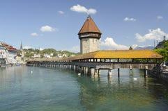 Chapel Bridge Kapellbrücke oldest wooden bridge, Lucerne, Switzerland. Chapel Bridge or Kapellbrucke is the oldest wooden covered bridge in Europe. The 170 Stock Photography