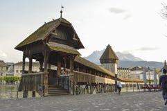 Chapel Bridge Kapellbrücke oldest wooden bridge, Lucerne, Switzerland. Chapel Bridge or Kapellbrucke is the oldest wooden covered bridge in Europe. The 170 Stock Photo