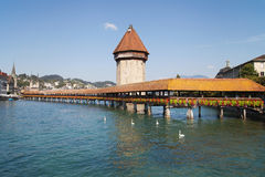 Chapel Bridge. (Kapellbrucke) in Lucerne, Switzerland Royalty Free Stock Images