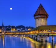 Chapel bridge or Kapellbrucke, Lucerne, Switzerland. Chapel bridge or Kapellbrucke by night, Lucerne, Switzerland Stock Images