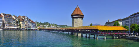 The Chapel Bridge and Lake Lucerne Royalty Free Stock Images