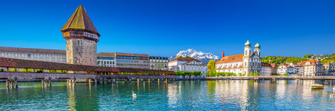 Chapel bridge and lake in Lucerne, Switzerland, Europe. Historic city center of Lucerne with famous Chapel Bridge, lake Lucerne (Vierwaldstattersee) and mountain Royalty Free Stock Photography