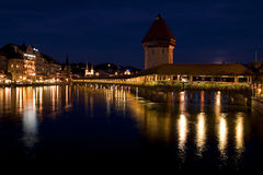 CHAPEL bridge in Lucerne. Luzern at night, the famous wooden bridge stock image